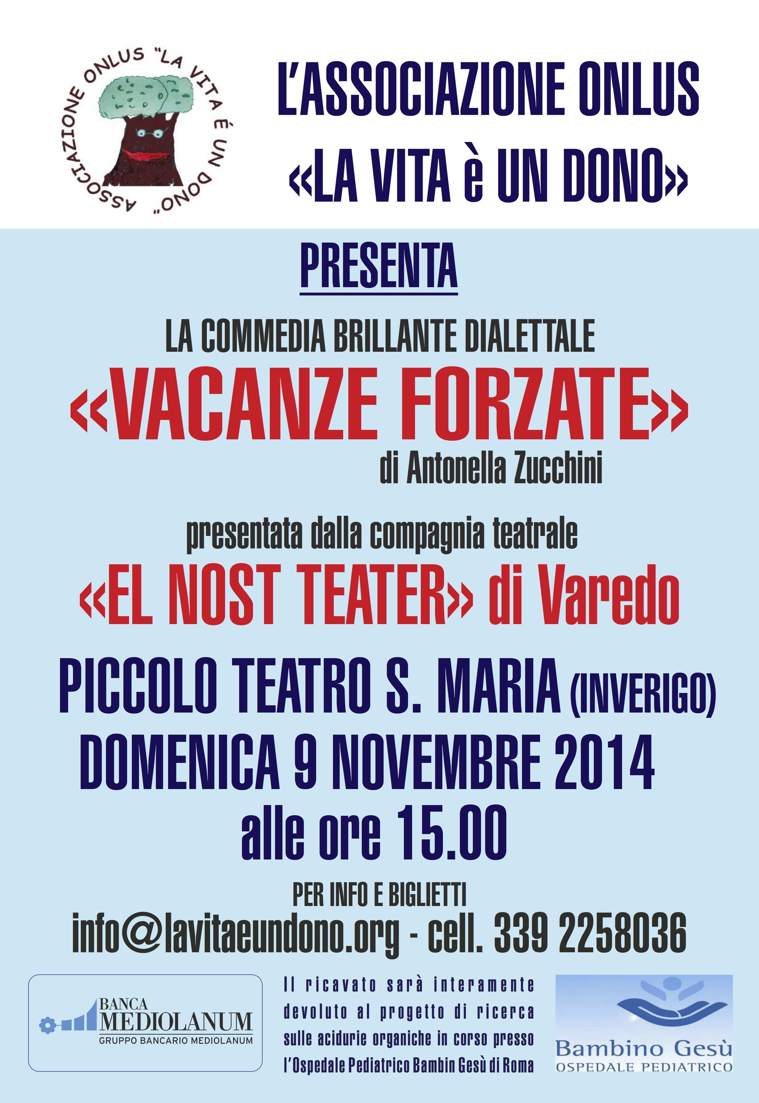 Spettacolo teatrale domenica 9 novembre