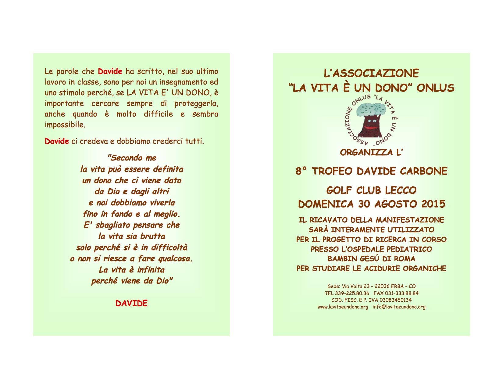 8 Trofeo Davide Carbone Golf Club Lecco Domenica 30 Agosto 2015